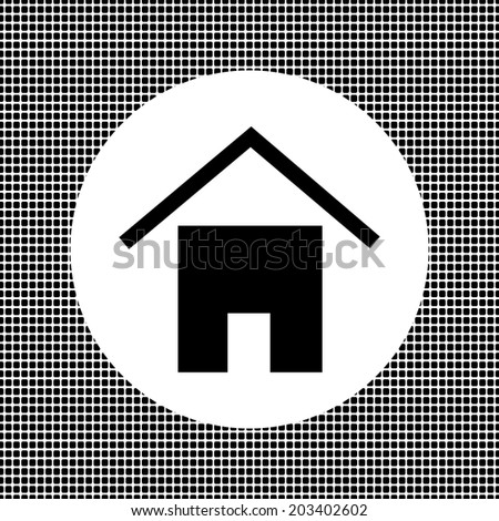 black sign on the net house background - stock vector