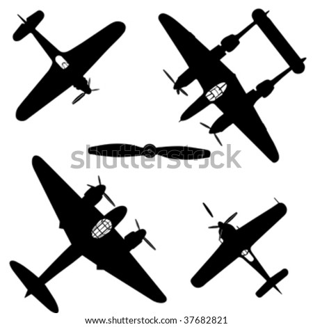 black silhouette airplane; military airplane - stock vector
