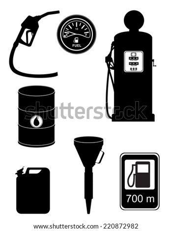 black silhouette fuel set icons vector illustration isolated on white background - stock vector