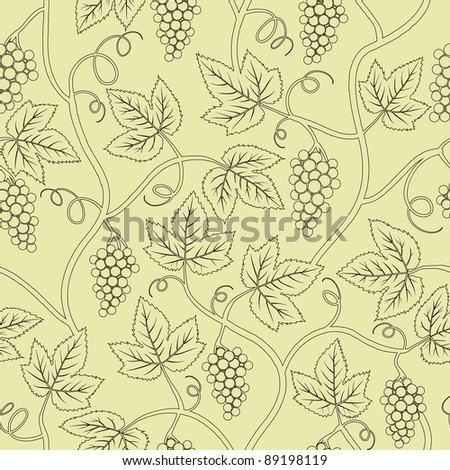 black silhouette grape branch seamless - stock vector