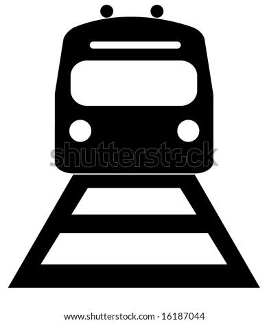 black silhouette illustration of the front of an train - stock vector