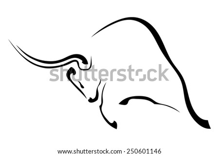 Black silhouette in profile of an aggressive bull isolated on white background. Vector illustration. - stock vector