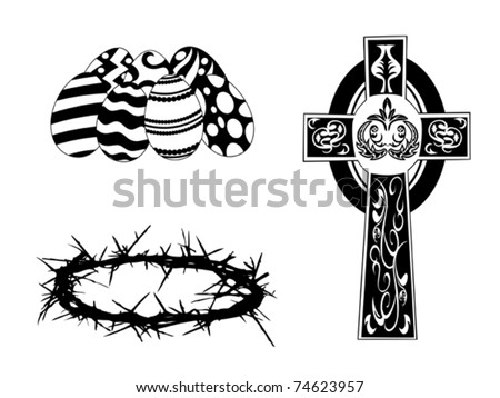 black silhouette items for easter day - stock vector