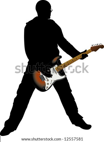 black silhouette man and guitar - stock vector