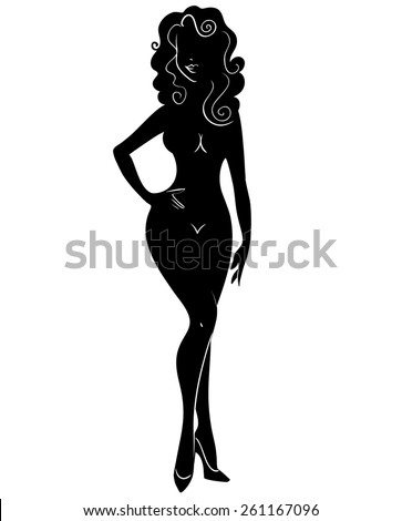 Black silhouette of a beautiful girl on a white background. Vector illustration. - stock vector