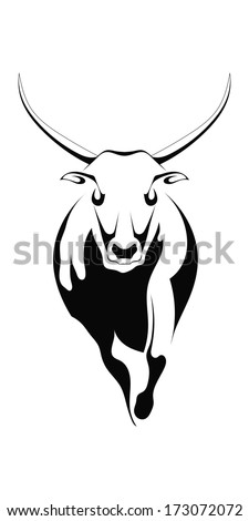 Black silhouette of a bull on a white background - stock vector