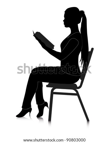 black silhouette of a girl reading a book on a white background - stock vector