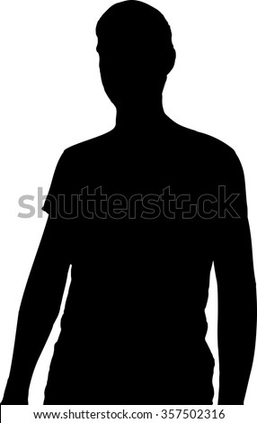 Black silhouette of a head and torso with male hands on white background in vector format. - stock vector