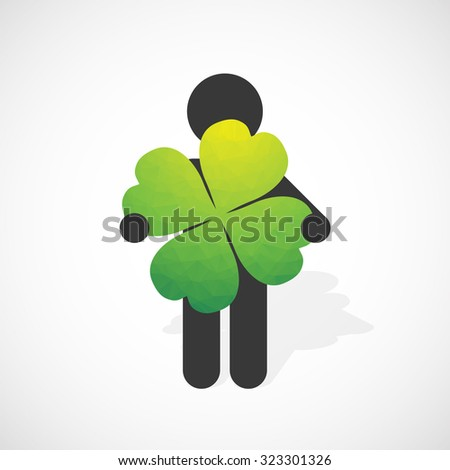 black silhouette of a man holds the four-leaf clover - stock vector