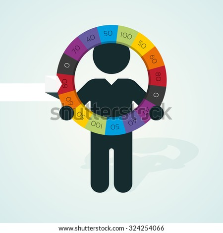 black silhouette of a man holds wheel of fortune - stock vector