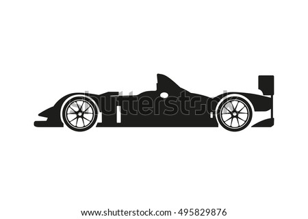 Black silhouette of a racing car on a white background. Vector illustration