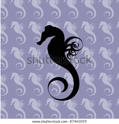 Black silhouette of a sea horse on the blue seamless background filled with light sea horses