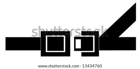 black silhouette of a seatbelt - indicating to buckle up - vector - stock vector