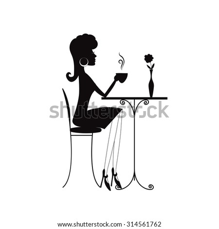 Black silhouette of a woman in a cafe - stock vector