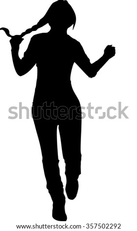 Black silhouette of a young girl in full growth, which runs forward with one hand grasping his tail, on a white background in vector format. - stock vector