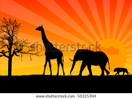 Black silhouette of african wild animals