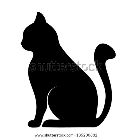 Black silhouette of cat. Vector illustration. - stock vector