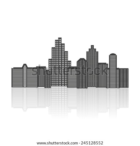 Black silhouette of city isolated on white background. Vector illustration