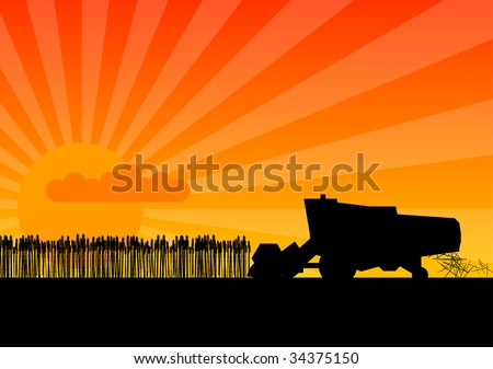 Black silhouette of combine under the sunset. - stock vector