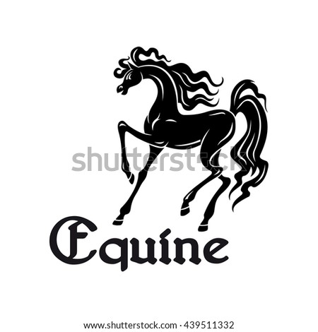 Black silhouette of elegant arabian mare with high raised legs at a passage movement. Use as horse breeding farm symbol or horse show theme design - stock vector