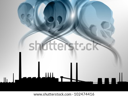 black silhouette of factory under the death smoke - stock vector