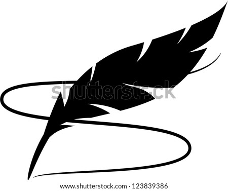 Black silhouette of feather with line - stock vector