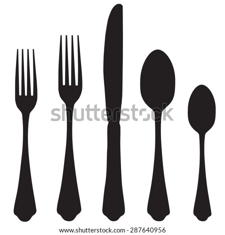 Black silhouette of fork, knife and spoon vector icon set. Cutlery - stock vector