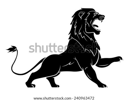 Black Silhouette Of Lion - stock vector