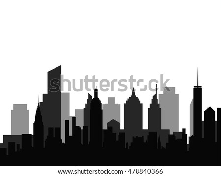 Black silhouette of modern city on white background