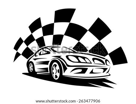 Black silhouette of modern racing car with checkered flag on the background for automotive sporting competition emblem or logo design - stock vector
