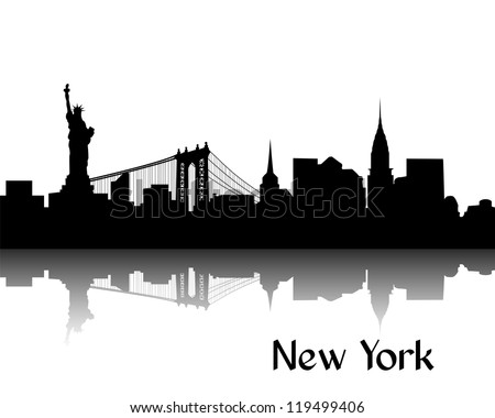 Black silhouette of New York, USA, with reflection - stock vector