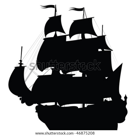 Black silhouette of old brigantine - stock vector