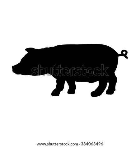 Black silhouette of pig isolated on white background. Simple flat vector illustration, EPS 10. - stock vector
