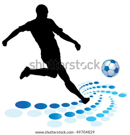 black silhouette of player and ball - stock vector