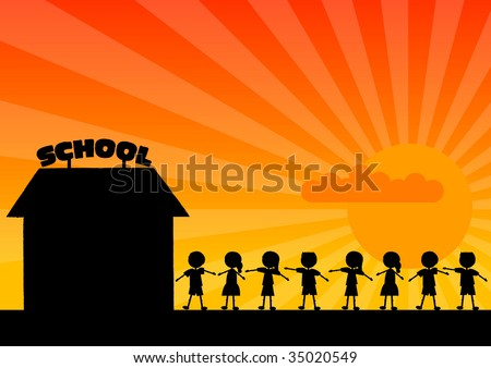 Black silhouette of school with children. - stock vector