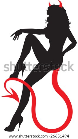 Black silhouette of sexy devil woman sitting on her own tail. - stock vector