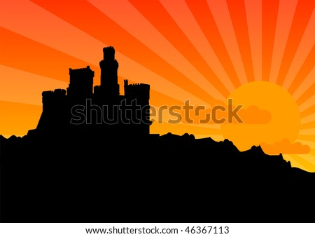 Black silhouette of the castle by sunrise. - stock vector