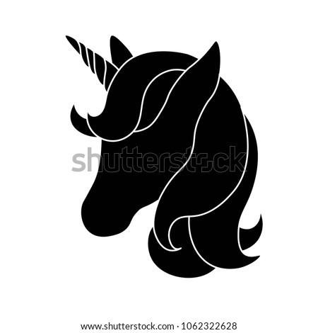 Black Silhouette Unicorn On White Background Stock Vector ...