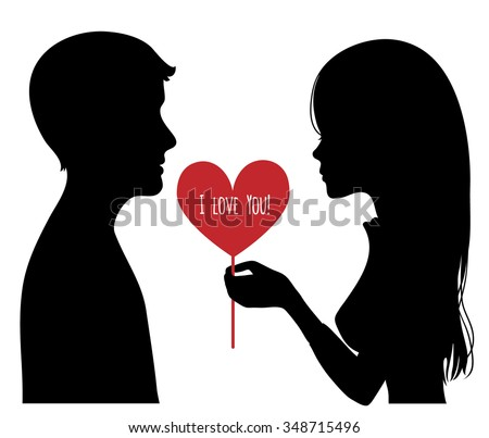 Black silhouette of young couple. Woman presents a heart to man. Vector image - stock vector