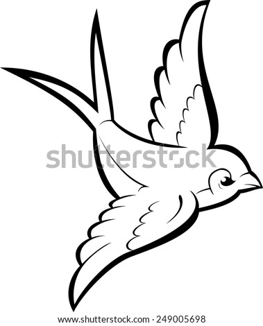 Black Silhouette Outline Flying Swallow Isolated Stock ...