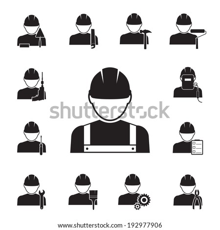 Black silhouette vector icons of workmen coupled with different tools including  drill  spanner  paint brush  roller  pliers  saw  welder  hammer  foreman   inspector with notes  screwdriver and gears - stock vector