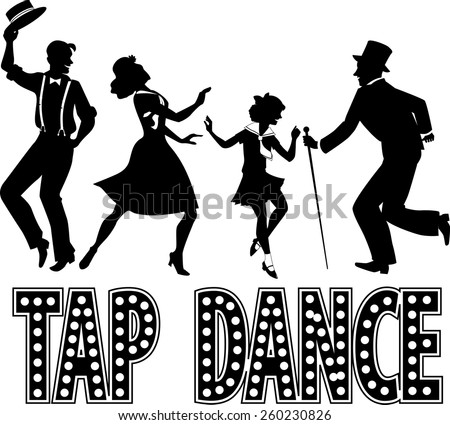 Black silhouette with retro style lettering and four performers dressed in vintage fashion, no white, EPS 8 - stock vector