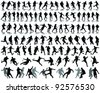 Black silhouettes and shadow of football players -vector - stock photo