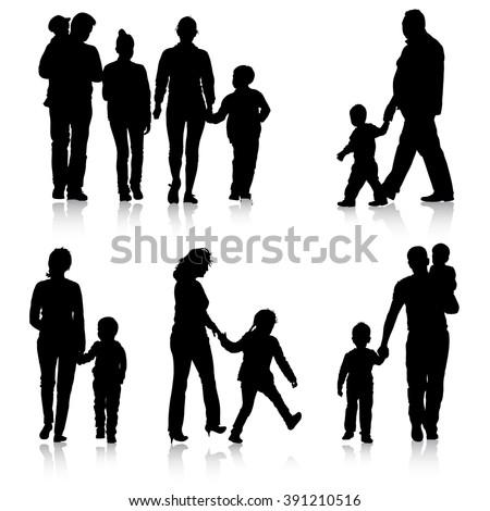 Black silhouettes Family on white background. Vector illustration. - stock vector