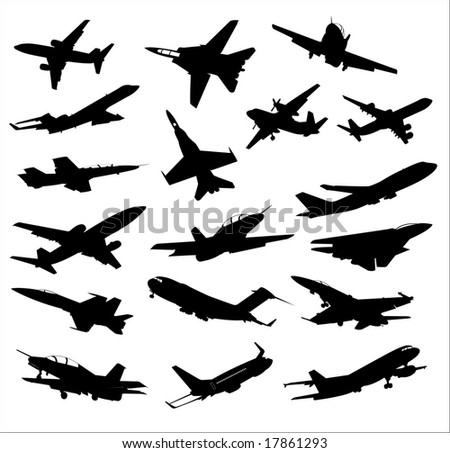 black silhouettes of aircraft - stock vector