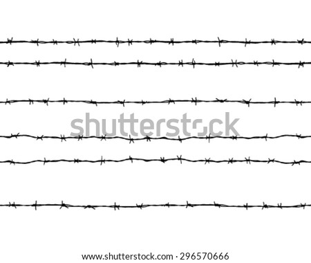 Black silhouettes of barbed wire on a white background, vector
