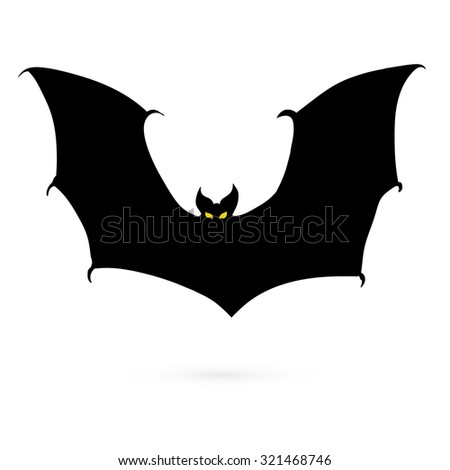 Black silhouettes of bats, vector image 1 - stock vector