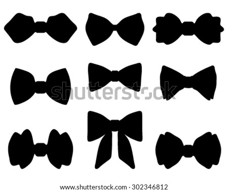 Black silhouettes of bow ties, vector  - stock vector