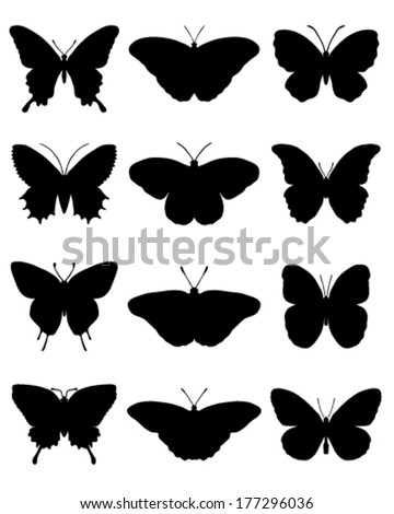 Black silhouettes of butterflies, vector - stock vector