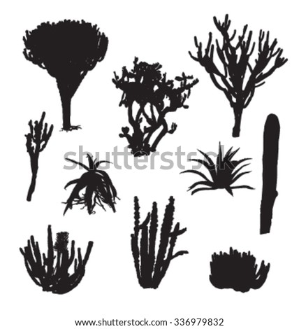 Black Silhouettes Cactus Agave Prickly Pear Stock Vector ...